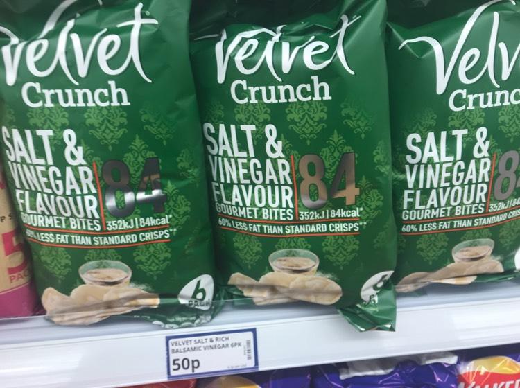 Velvet Crunch Salt & Vinegar Crisp 6 Pack 50p at Poundstretcher
