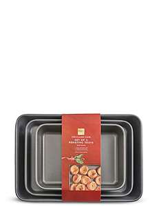 Marks and Spencer choice of either  A 3-pack consisting of 3 Roasting Tins (sizes in the photo below) or A Large Roasting Tin complete with Roasting Rack both are reduced from £25 to £12.50 instore and  online ..  links are in the comment below.