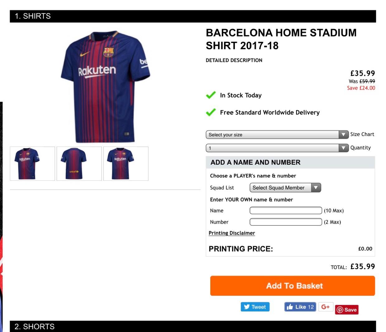 FC Barcelona Home Shirt 17/18 (40% off) - £35.99 @ Kitbag