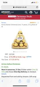 Ferrero Rocher 4 pyramids 17 pieces in each - £15.99 (Prime) £20.74 (Non Prime) @ Amazon