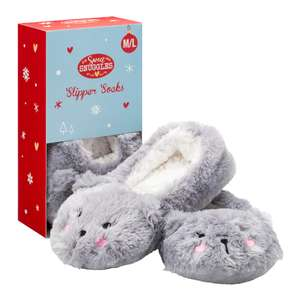Superdrug Sweet Snuggles Cat Slipper Socks Gift Box Grey M/L £3.00 - BACK IN STOCK !