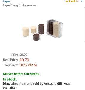 Cayro Draughts Accessories - 70p (add-on item) @ Amazon