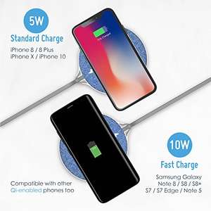 Fast Wireless Charger, Auckly 10W Jean Fabric Qi Wireless @ Amazon Lightning Deals