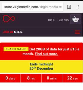 Virgin mobile 20GB for £15 Pay monthly Sim Only - 12 months £180 (£30 TCB) Online