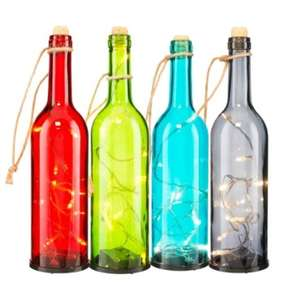 LED Light Up Vintage Wine Bottles - Full Size Wine Bottle - Colours: Red - Blue - Green - Black £1 @ Poundland