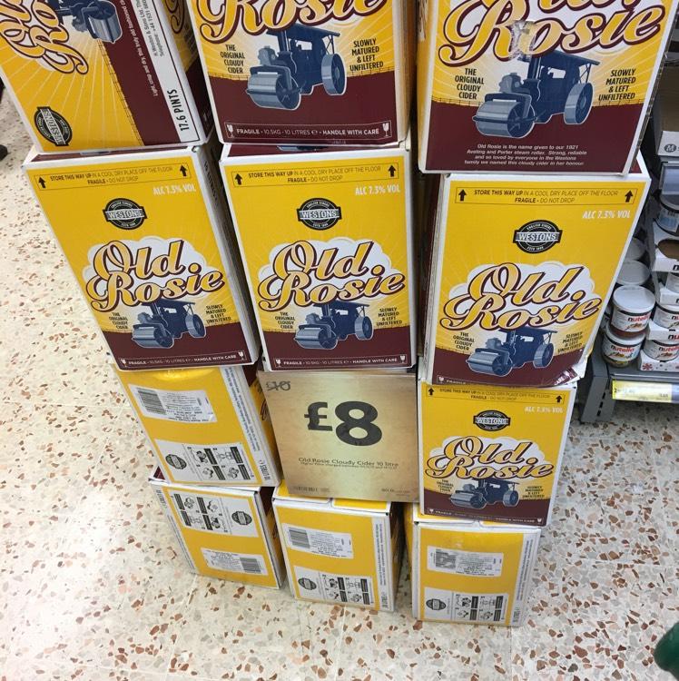 Old Rosie cider, 17pint box £8 Morrisons