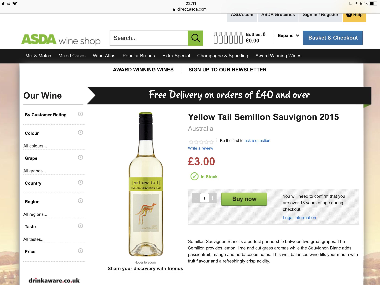 Yellowtail semillon Sauvignon 2015 £3 @ ASDA wine