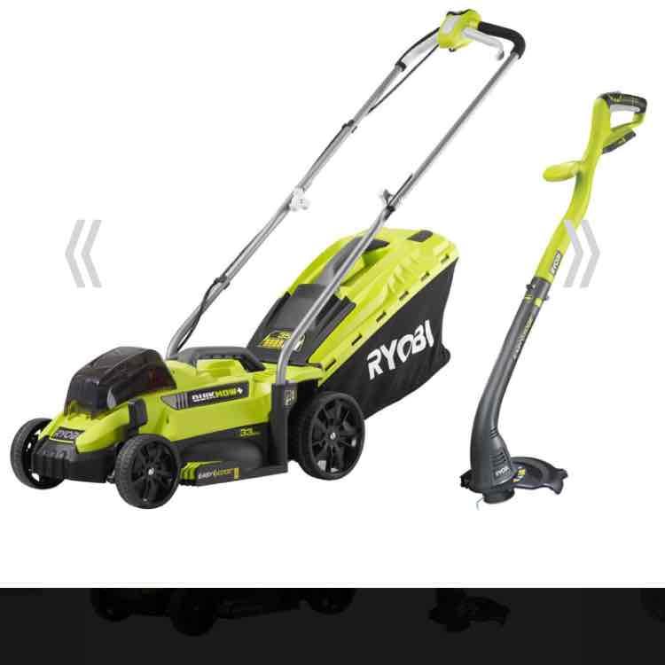 Ryobi Cordless Lawnmower + Trimmer pack @ Homebase - £75