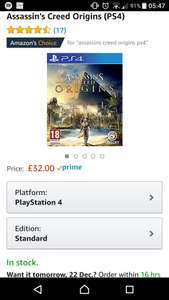 Assassin's Creed Origins PS4 £32 at Amazon