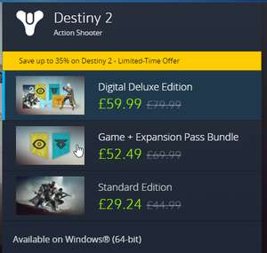 Destiny 2 PC at Battle.net for £29.24