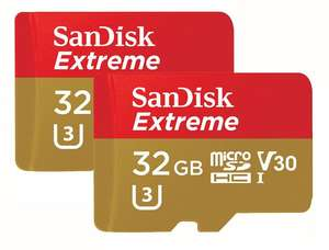 2 x Micro SD 32GB U3 Sandisk cards for £26.99 @ Picstop (plus cashback)