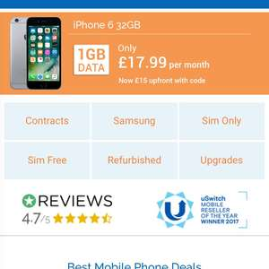 £15 off upfront mobile phone costs @ Mobiles.co.uk