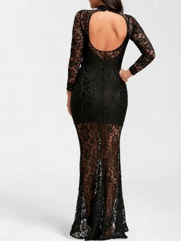Mock neck black long sleeve prom dress - £14.60 @ rosegal