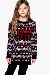 Girls Trainee Elf Knitted Dress was £14 now £6 with Free Next Day Delivery @ Boohoo (ages 5 - 12yrs) + Kids Christmas Jumpers from £4 Del