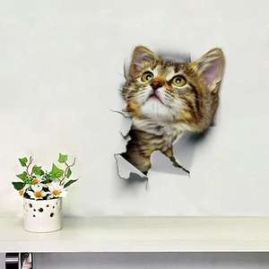 Cat 3D Removable PVC 25cm by 17cm Wall Sticker 38p Delivered with code @ Rosegal