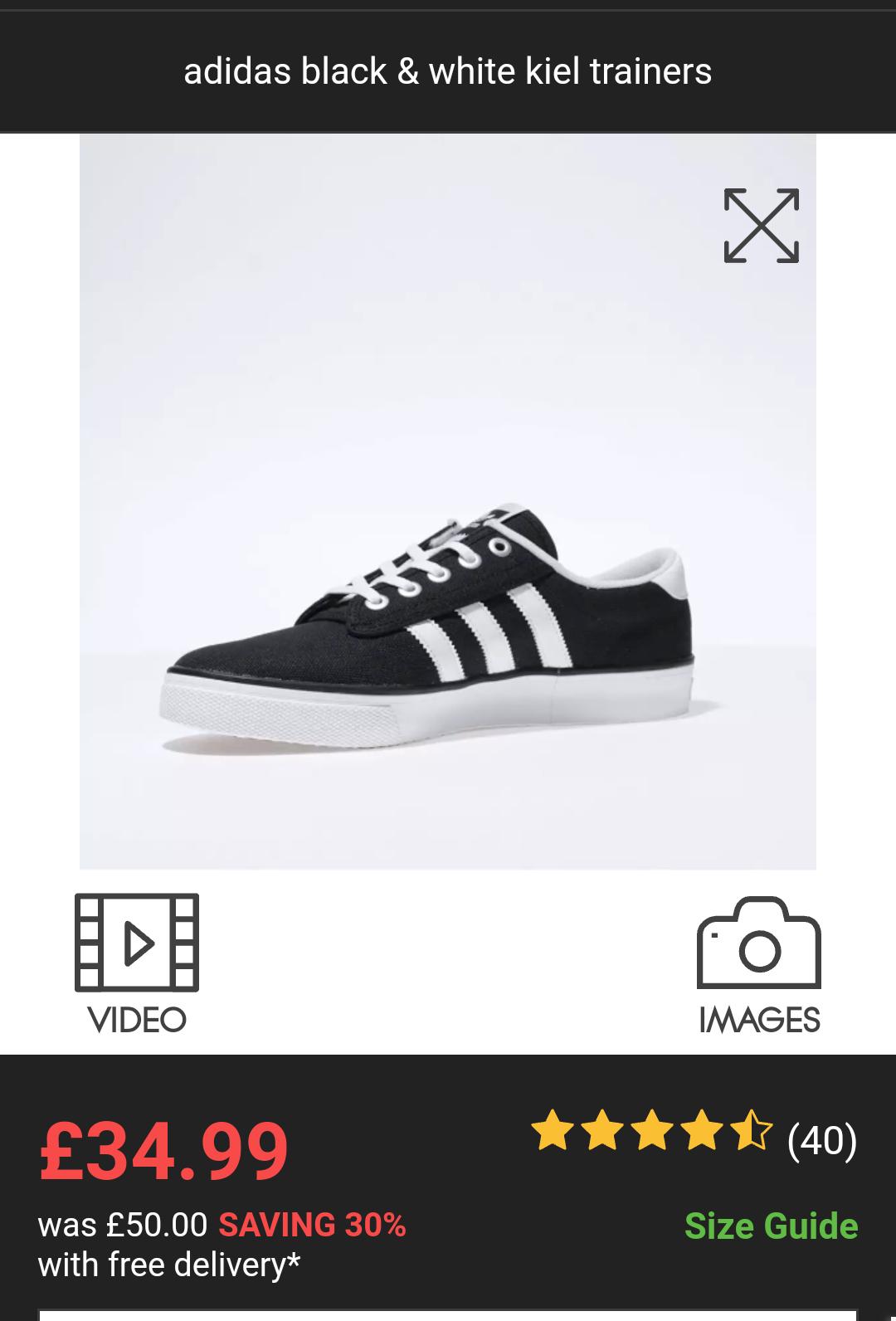 Men's Adidas black & white keil trainers - £34.99 @ Schuh