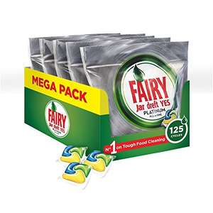 Fairy Platinum Dishwasher Tablets Lemon, 5 x Pack of 25 - £13.48 (Prime) £18.23 (Non Prime) @ Amazon