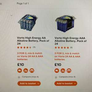 B&Q Varta 24 aa/aaa batteries 3 for 2 - £20 for 72 batteries