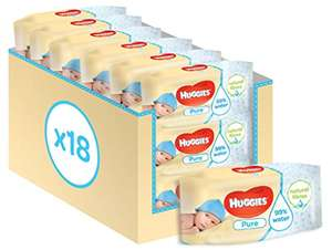 Huggies Pure Baby Wipes 18 Packs (1008 Wipes Total) £9 Prime / £8.55 with 5% S&S discount / £7.65 with 15% S&S discount @ Amazon (+ £3.99 Non Prime)