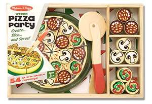 Melissa & Doug Pizza Party Wooden Play Food Set With 54 Toppings £6.80 prime / £11.55 non prime @ Amazon