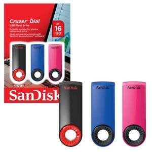 SanDisk Cruzer Dial 16GB USB 2.0 Flash Drive Stick Various Colours & Pack Size (£