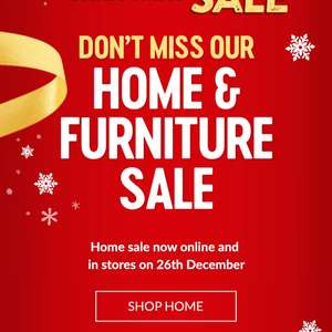 Asda Home and furniture sale online now instore 26th Dec