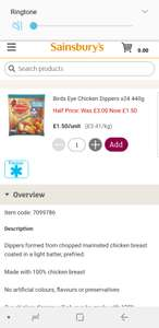 24 chicken dippers half price at Sainsbury's £1.50