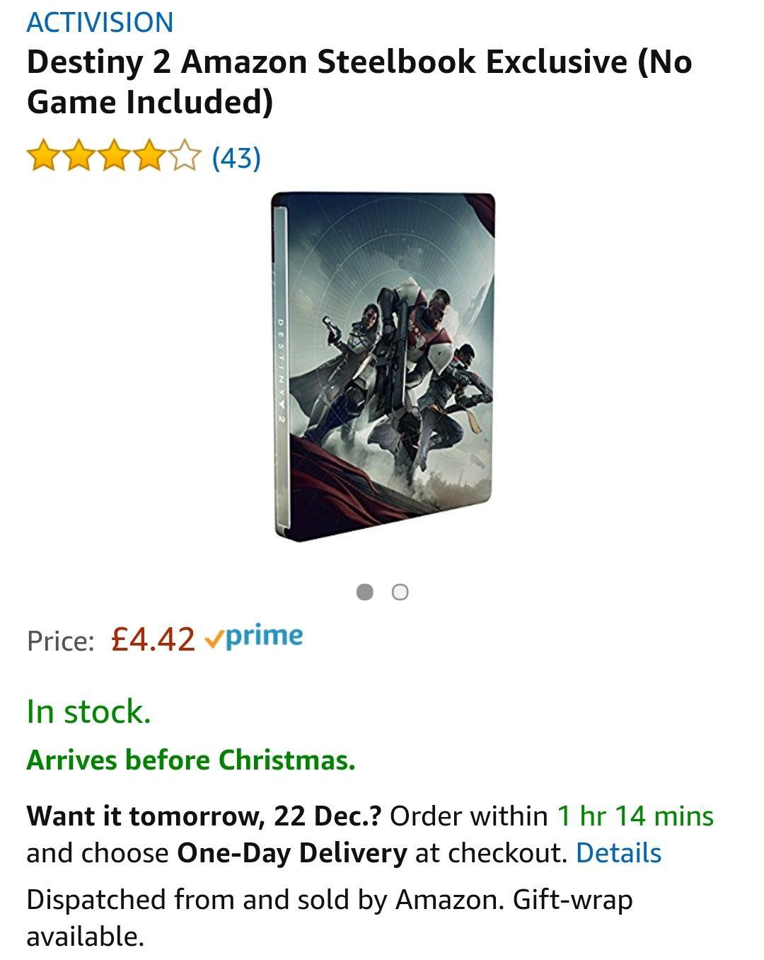 Destiny 2 Steelbook (NO GAME) £4.42 Prime // £6.41 Non-Prime - Amazon
