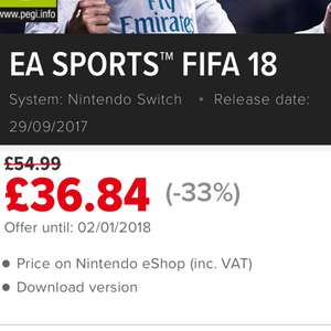 Fifa 18 for Switch reduced by 33% £36.84 @ Nintendo