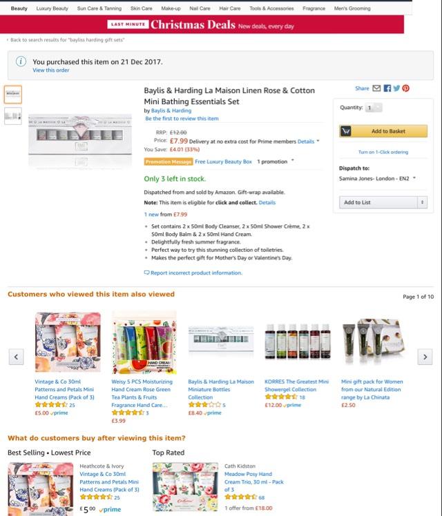 Baylis & Harding La Maison Linen Rose & Cotton Mini Bathing Essentials Set £7.99 Prime @ Amazon