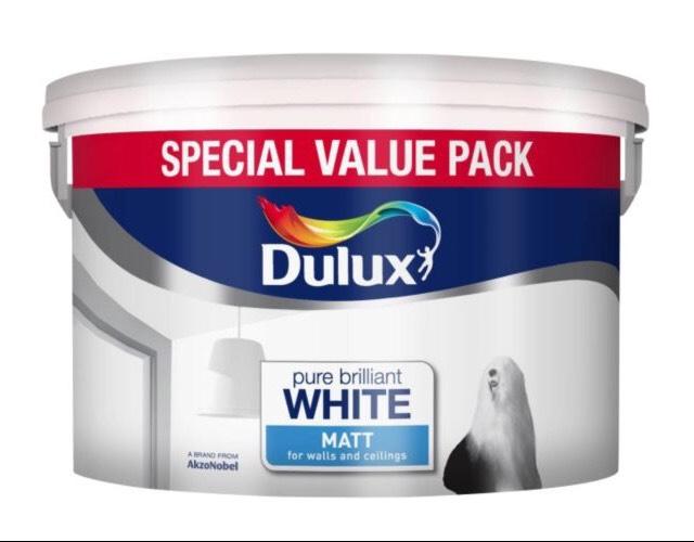 DULUX PURE BRILLIANT WHITE MATT EMULSION PAINT 7.5L £6 @ B&Q