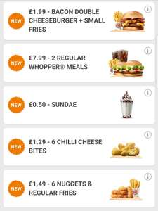 Burger King Vouchers (via the app) inc. Bacon Double Cheese & Fries for £1.99