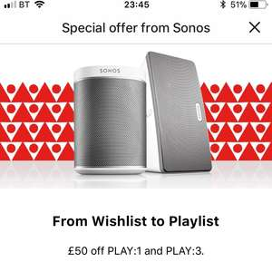 £50 off - PLAY:1 (£149, Usually £199) and PLAY:3 (£249, Usually £299) @ SONOS