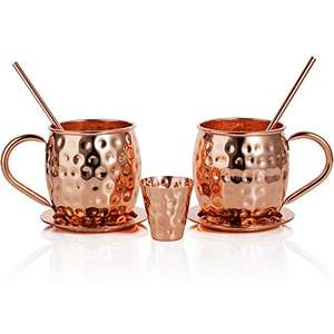 Handmade Hammered Moscow Mule Copper Mugs Set of Two by Riches & Lee - This 100% Copper Gift Set Includes: 2 x Mugs, 2 x Coasters, 2 x Straws, 1 x Shot Measuring Cup plus Bonus Cocktail Recipe eBook £20.99 @ Amazon Sold by Riches & Lee™ and Fulfilled