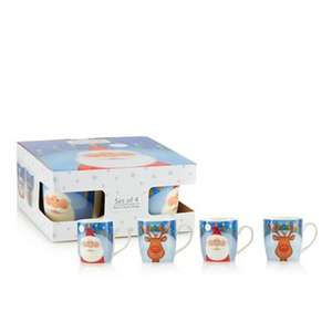 Pack of 4 assorted fine china Santa and reindeer print Christmas mugs £7.50 @ Debenhams