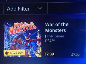 War of the monsters PS4 - £2.39 @ PSN