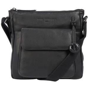 Pure Luxuries London - Black 'Fleet' leather bag with platinum-coloured detailing - £25.50 plus £3.99 next day delivery @ Debenhams