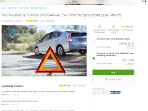 car breakdown cover groupon Emergency Assist one year cover with home start - £19.20 with voucher @ Groupon