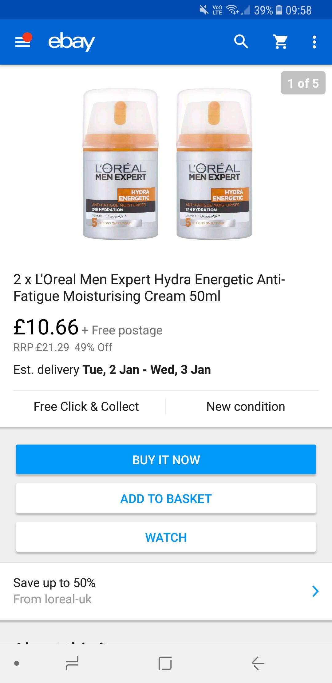 2 x L'Oreal Men Expert Hydra - £10.66 @ loreal-uk ebay