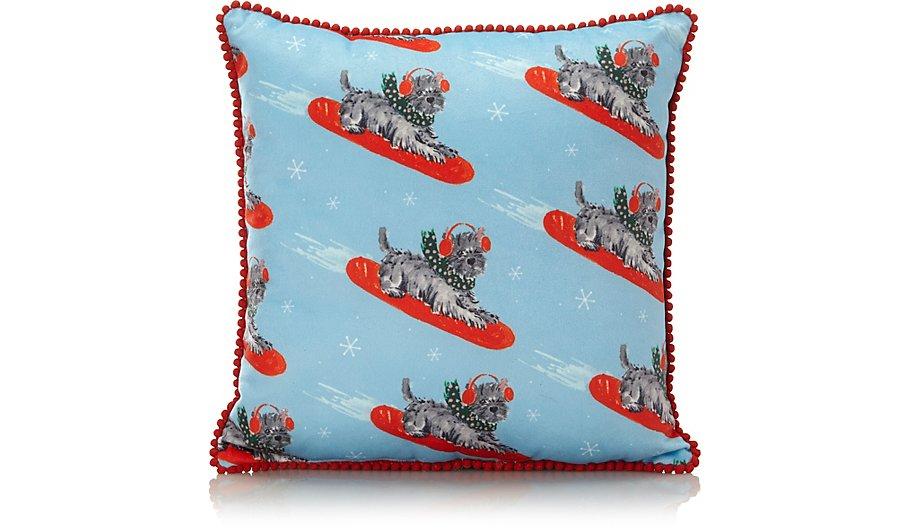 Christmas Scottie Dog Cushion
