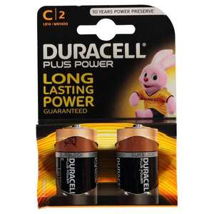 Duracell C batteries(2pk) £2 from Poundworld