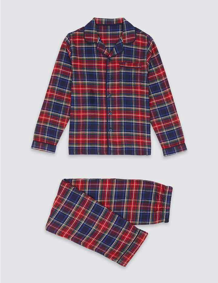Pure Cotton Checked Pyjamas (1-16 Years) @ M&S - (£7 - 9)