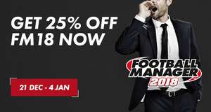FM18 PC Only £28.49 on the Steam Winter Sale
