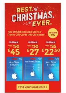 iTunes gift cards 10% off in store only @ Asda