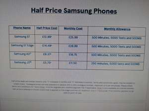 Half Price Samsung Mobile deals @ Tesco Mobile