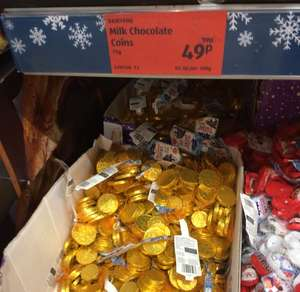 Bags of gold chocolate coins reduced to 49p in Aldi