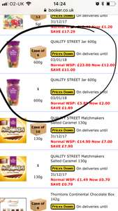 Quality street 600gms jars - £2.40 @ Booker Wholesale