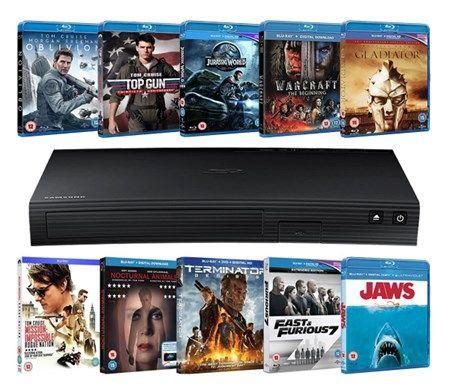Samsung Blu Ray Player + 10 Blu Rays £58.49 with code @ Zoom