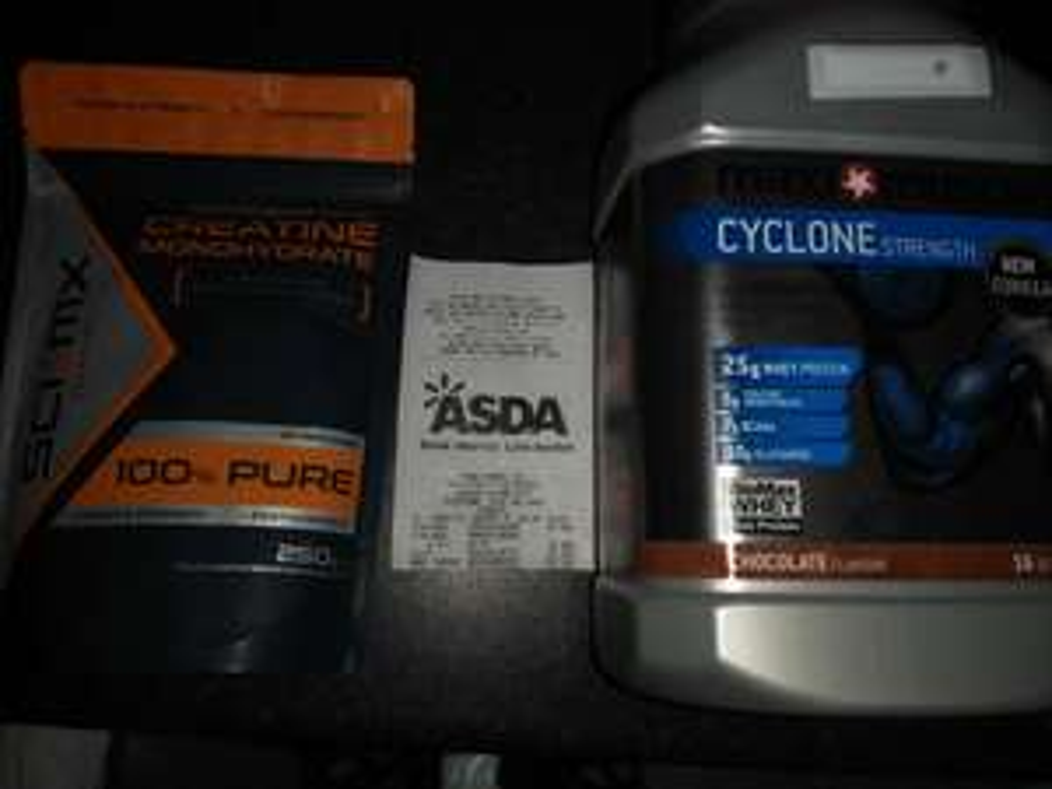 maxi muscle cyclone 980g £10. SCI-MX creatine 250g £3 IN-STORE ASDA