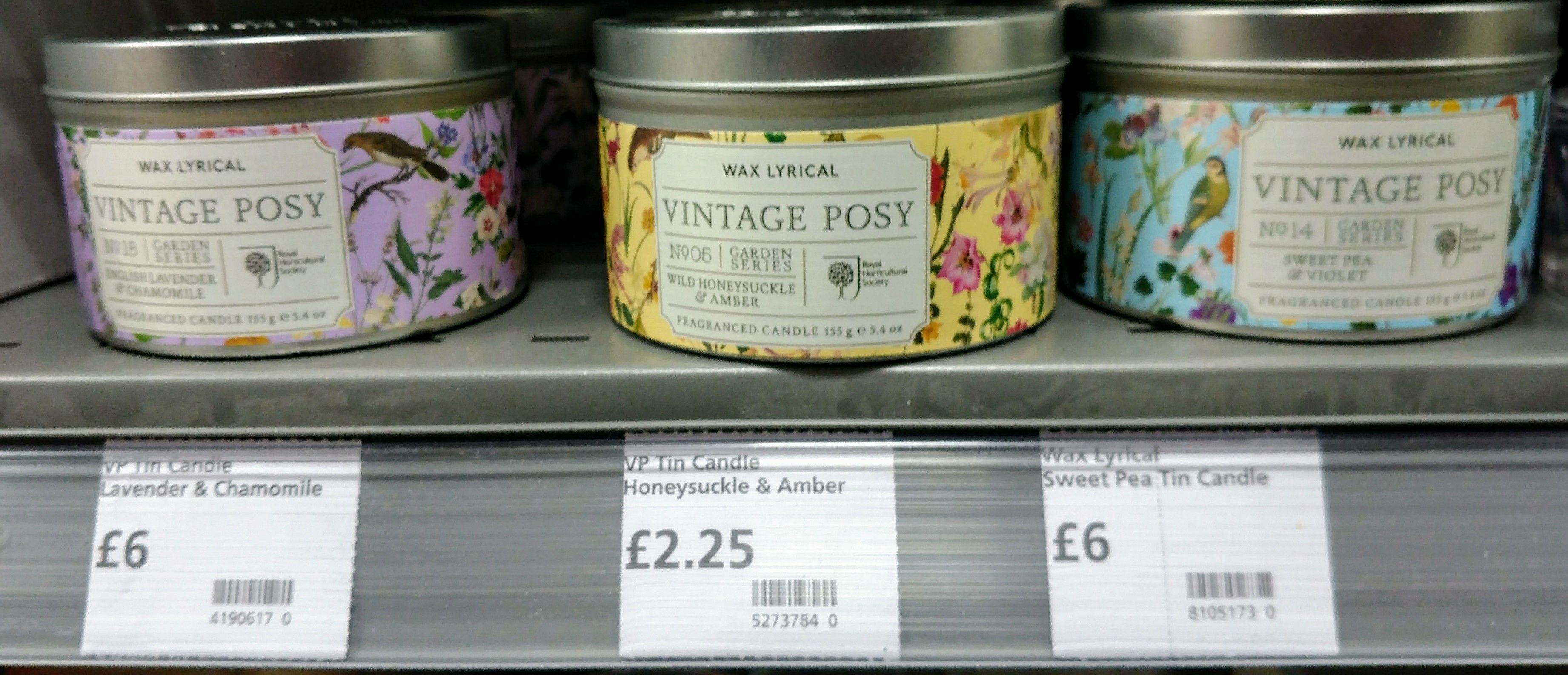 Wax Lyrical Vintage Posy Wild Honeysuckle & Amber candle £2.25 @ Waitrose